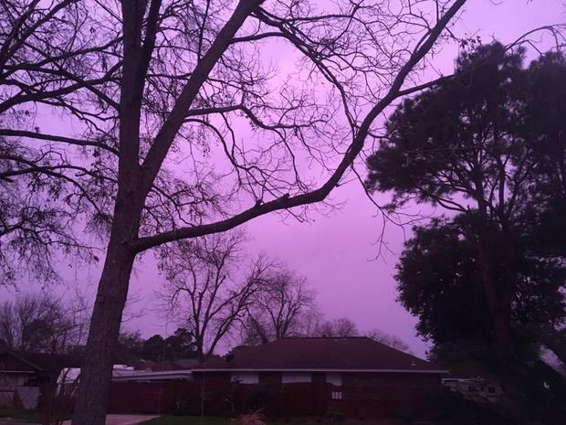 Thunderstorms created this actual purple sky in Texas City, TX