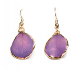 Purple Gold-trimmed Real Rose Petal Earrings