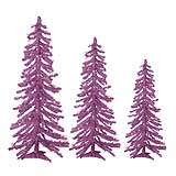 Alpine THREE TREE SET of Mini Purple Christmas Trees