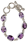 Silver Six Amethyst Bracelet<br />Purple Gemstones, Silver Setting