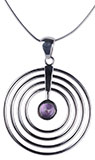 Purple Circles Silver Amethyst Necklace