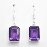 Silver Amethyst Purple Earrings, Square Faceted Dangles