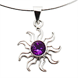 Amethyst Purple Sun Necklace