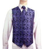 Dark Paisley Purple Vest/Tie/Hankie Set