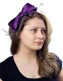 Beaded Satin Bow Purple Fascinator