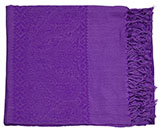 Solid Purple Pashmina-Style Scarf with Subtle Paisley