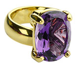 Zero Karat Gold Oval Purple Prong Set Amethyst Ring