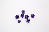 Transparent, Multi-sided, Purple Dice with White Numbers
