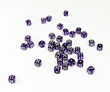 36 Set Transparent Purple Dice with White Dots