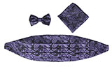 Dark Paisley Cummberbund, Bowtie, and Pocket Square Set