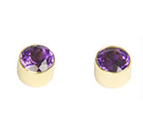 Zero-Karat Gold Amethyst Post Earrings