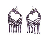 Wood Purple Earrings - Giraffe Heart