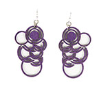 Wood Purple Earrings - Circle Bunch