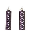 Wood Purple Earrings - Geometric Tower