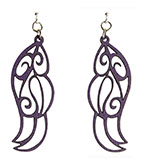 Wood Purple Earrings - Feathers