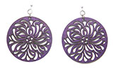 Wood Purple Earrings - Floral Circle Design
