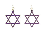 Wood Purple Earrings - Star of David