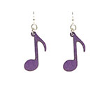 Wood Purple Earrings - Music Notes