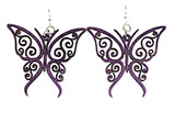 Wood Purple Earrings - Butterflies