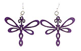 Wood Purple Earrings - Dragonflies