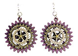 Wood Purple Earrings - Gears