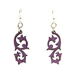 Wood Purple Earrings - Summer Vines
