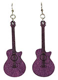Purple Guitar Earrings