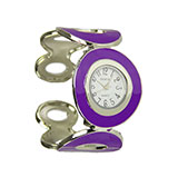 Purple Ovals Stainless Steel Bracelet Watch