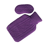 Plum Purple Hot Water Bottle and Purple Sleep Mask (Eye Mask) Set