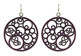 Wood Purple Earrings - Circles