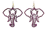 Wood Purple Elephant Earrings