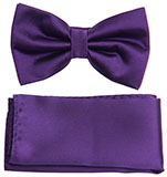 Dark Purple Bow Tie and Hankie Set