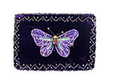 Zippered Purple Velvet Butterfly Change Purse