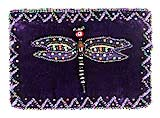 Zippered Purple Velvet Dragonfly Change Purse