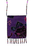 Purple Velvet Beaded Bag with Beaded Strap and Large Flower