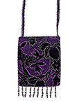 Purple Velvet Beaded Bag with Velvet Strap and Multiple Flowers