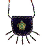 Purple velvet beaded bag with beaded turtle