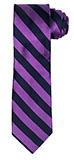 Berry Purple and Navy Blue Striped Silk Tie