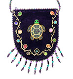 Purple Velvet Beaded Bag with Velvet Beaded Strap and Large Turtle