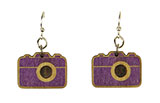 Wood Purple Camera Earrings