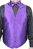Ridged Pattern Dark Purple Vest Set