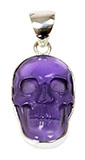 Purple Skull Necklace, Laser Etched Amethyst
