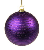 "Striped, Dark Purple Christmas Ornament, 4"" Ball"