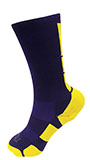 Purple Athletic Socks with Gold Pattern