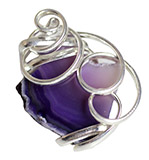 Adjustable Silver Plate Purple Agate Ring, Larger Cut Agate