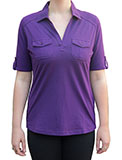 Pocketed Womens Purple Polo Shirt