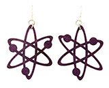 Purple Wood Atom Earrings