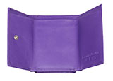 Double Pocket Trifold Purple Leather Wallet