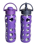 Glass Purple Water Bottle