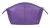Solid Leather Purple Cosmetic Bag